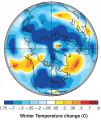 MAP - World GCM model based Global Winter Temperature Change during Maunder Minimum (NASA GISS, 2001) .png